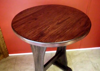 Solid Oak Trestle Style Round Casual Table